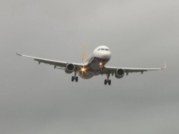 Plane wobbles amid Storm Doris winds