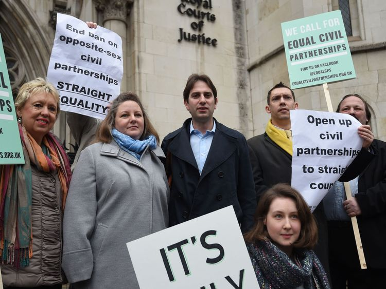 Rebecca Steinfeld and Charles Keidan with supporters outside the Royal Courts of Justice in London