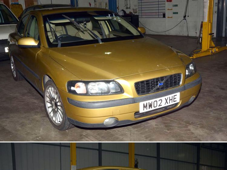 The gold Volvo found by police looking for Shaun Walmsley
