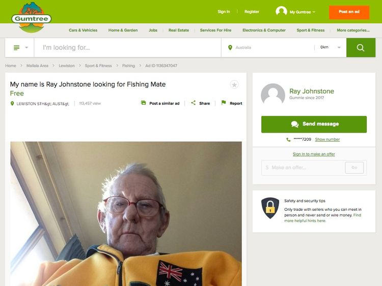 Ray Johnstone's Gumtree advert went viral