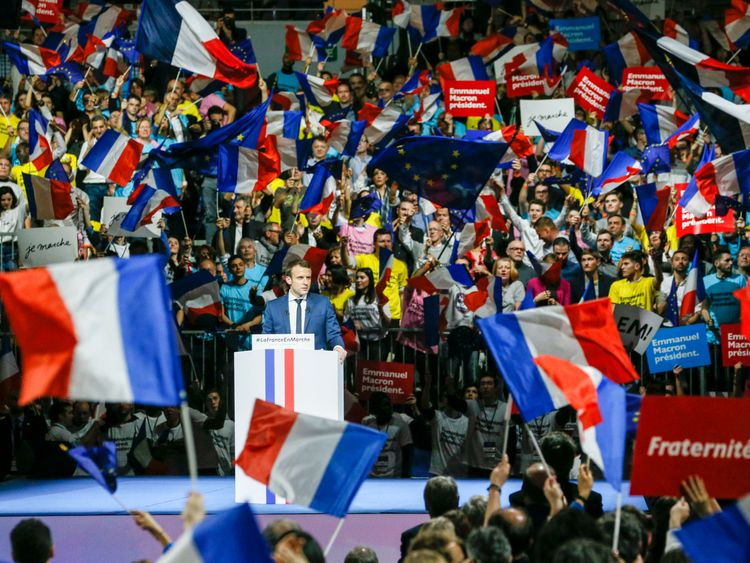 Mr Macron, who is pro-EU, held a colourful rally in Lyon