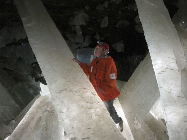 A scientists explores the crystals in the Naica mine. Photo: Penelope J. Boston/PA Wire
