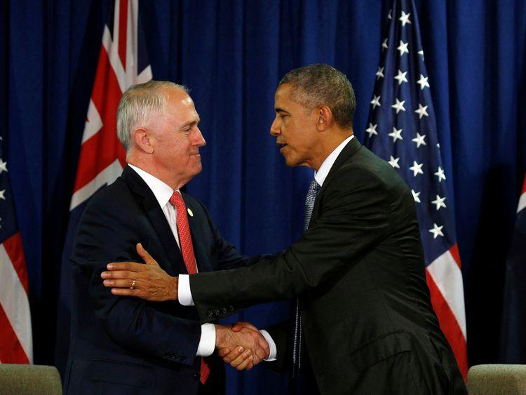 U.S. President Barack Obama and Australian Prime Minister Malcolm Turnbull meet during the APEC Summit in Lima, Peru November 20, 2016