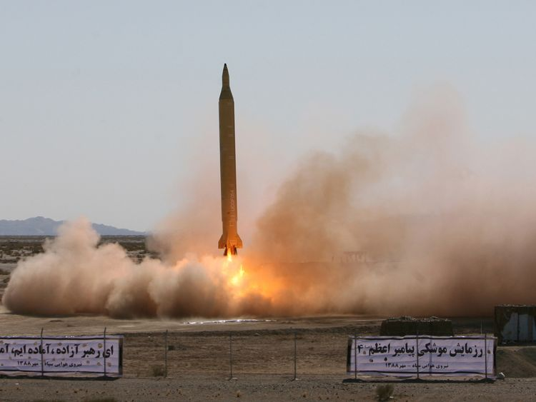 An Iranian long-range Shahab-3 missile is fired in 2009. File pic