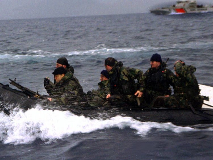 Turkish commandos land on the disputed island during heightened tensions in 1996