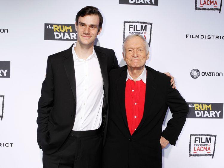 Playboy magazine founder Hugh Hefner with son Cooper