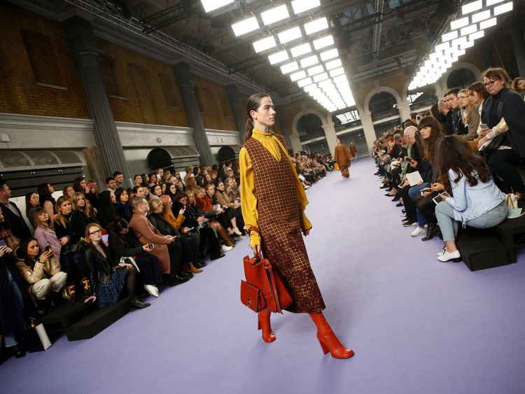 A model presents a creation at the Mulberry catwalk show