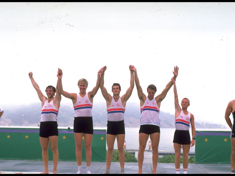 Andy Holmes, centre, with the 1984 Olymlic gold medal crew