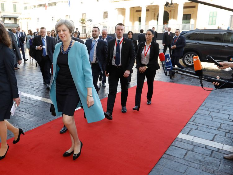 Theresa May arriving at the summit in Valletta, Malta