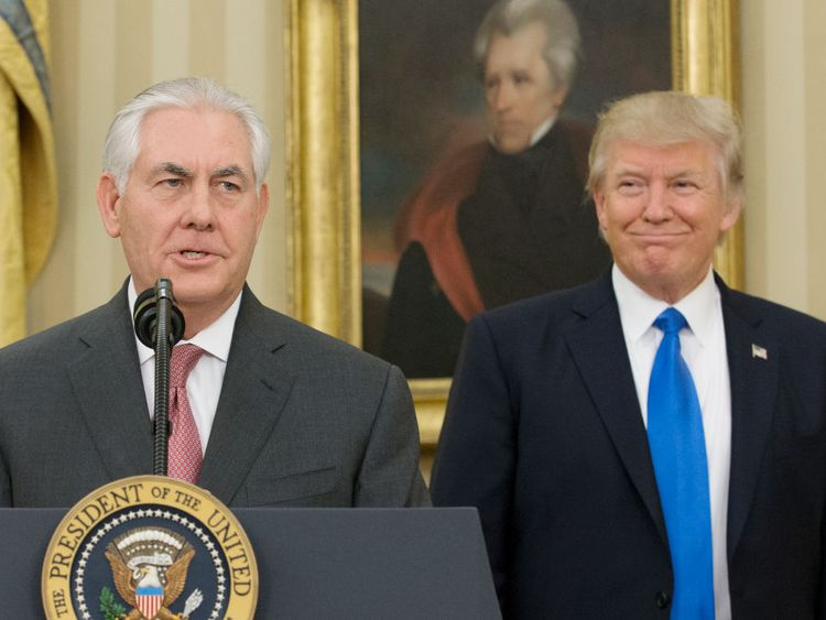 Rex Tillerson speaking after his swearing-in ceremony
