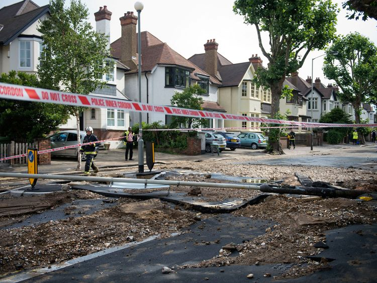 Damage from a burst water main