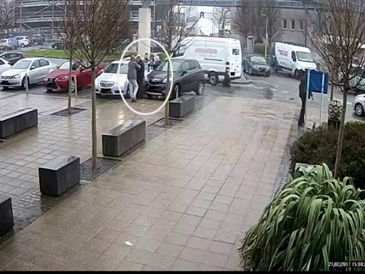 CCTV image of Shaun Walmsley's escape from custody with the help of two other people