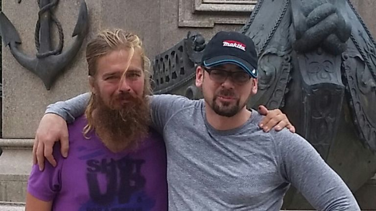 Anton Pilipa, left, is reunited with his brother Stefan in Brazil