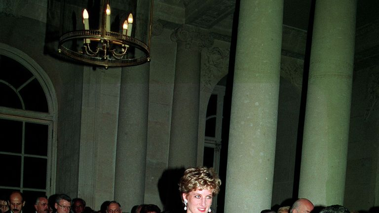 This black silk and velvet evening dress was worn by the Princess at the Palaice of Versailles in 1994