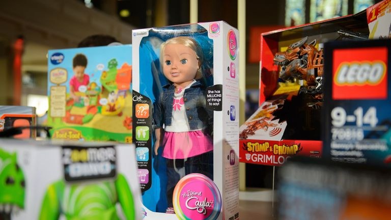 The talking doll 'My Friend Cayla' is displayed at a toy fair in London in 2014