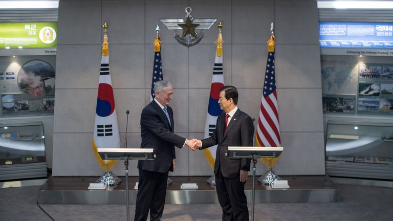 US Defence Secretary James Mattis shakes hands with his South Korean counterpart Han Min-Koo following a joint briefing at the Defence Ministry in Seoul on February 3, 2017