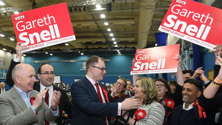 Gareth Snell celebrates with his wife Sophia after winning the Stoke-on-Trent Central by-election