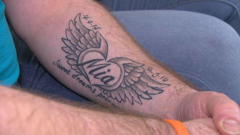Matt Bright has a memorial tattooed on his arm to his daughter Mia who died of meningitis