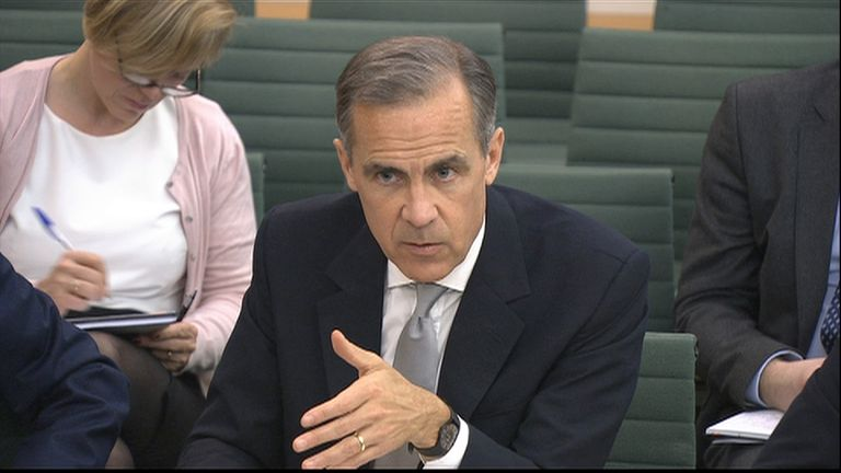 Bank of England governor Mark Carney gives evidence to MPs on the Treasury Select Committee