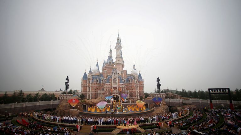 Fireworks explode over the Shanghai Disney Resort during the opening ceremony in Shanghai June 2016
