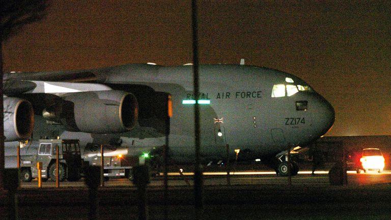 The five freed Guantanamo captives arriving at RAF Northolt