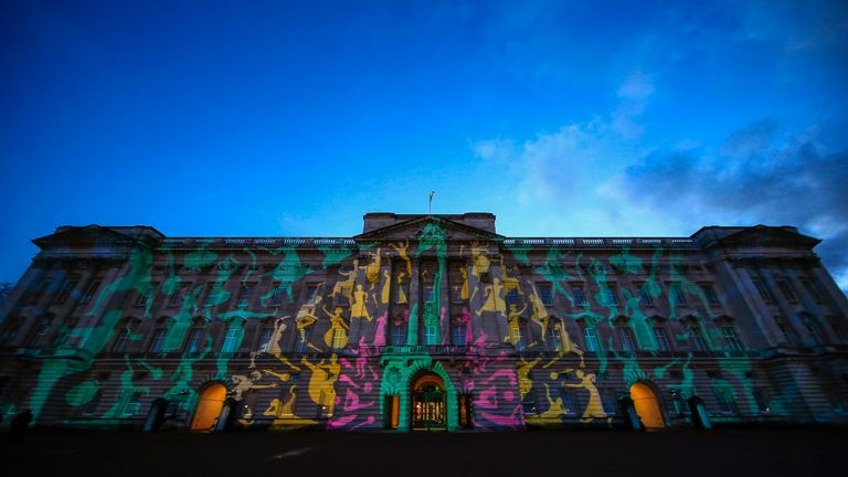 Buckingham Palace is lit with a projection of a colourful peacock at a reception this evening to mark the launch of the UK-India Year of Culture 2017 on February 27, 2017 in London, England