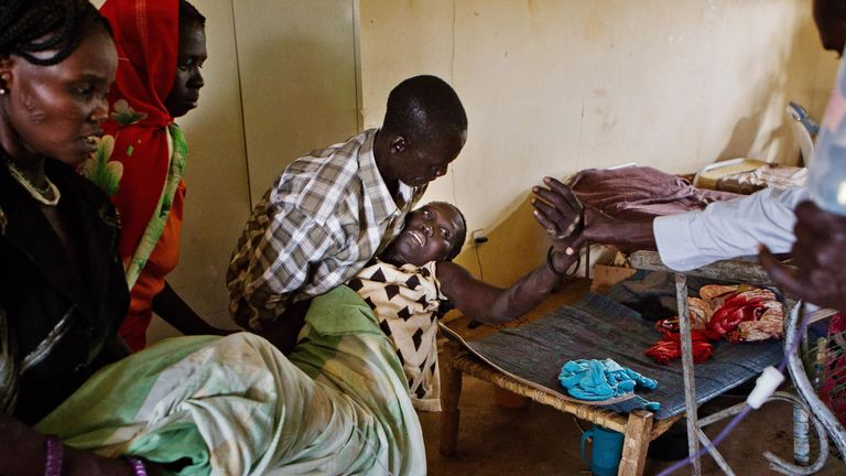 Injured refugees and soldiers in the joint S.Sudan/Goal administered clinic in Bunj, Maban in the Upper Nile Blue Nile state of northeastern South Sudan, Africa