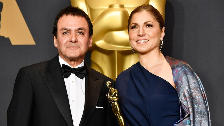 Best Foreign Language Film: The Salesman, Iran - Former NASA scientist Firouz Naderi (L) and engineer/astronaut Anousheh Ansari accepted the award on behalf of director Asghar Farhadi