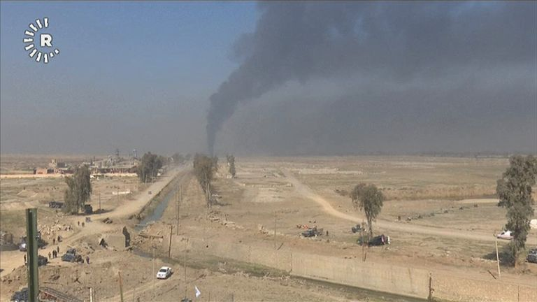 Smoke seen rising from the Mosul airport area
