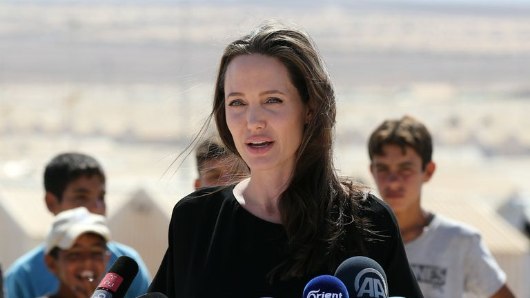 Angelina Jolie visits a Syrian refugee camp in Jordan in September 2016