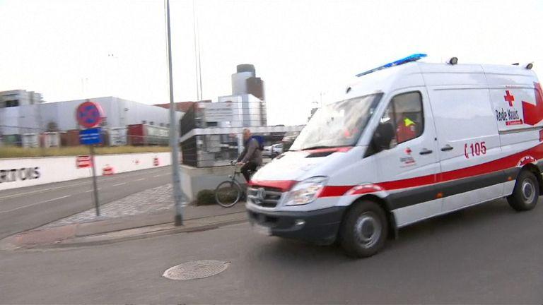 Emergency crews rush to the scene of the train crash in Leuven. Pic: Enex
