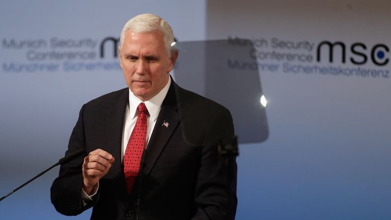Mike Pence addresses the Munich Security Conference