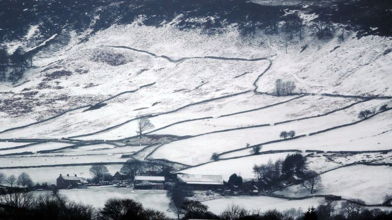 A snowy scene on the North Yorkshire moors, as a mini cold snap brought snow to parts of the UK