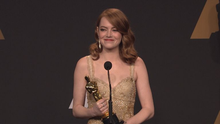 Emma Stone said she was pleased for Moonlight