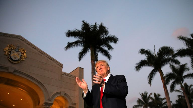 Donald Trump at his resort in Mar-a-Lago, Florida
