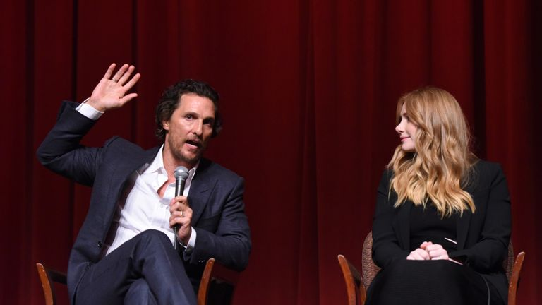 Actor Matthew McConaughey with his Gold co-star actress Bryce Dallas Howard