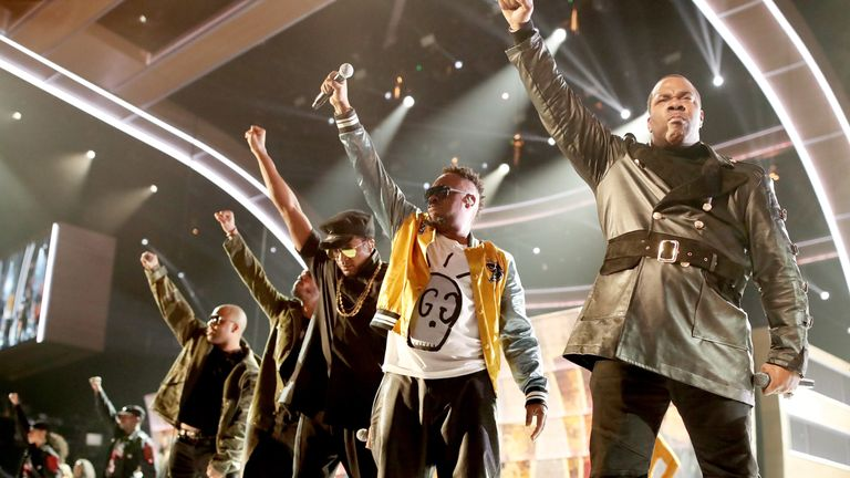 Busta Rhymes and A Tribe Calles Quest protesting at the Grammys