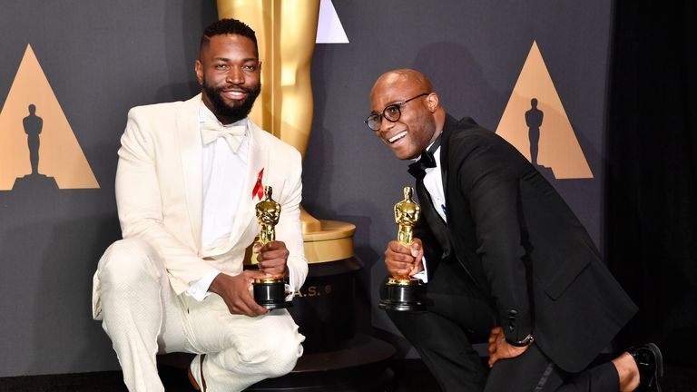 Best Adapted Screenplay: Tarell Alvin McCraney (L) and Barry Jenkins (R), Moonlight