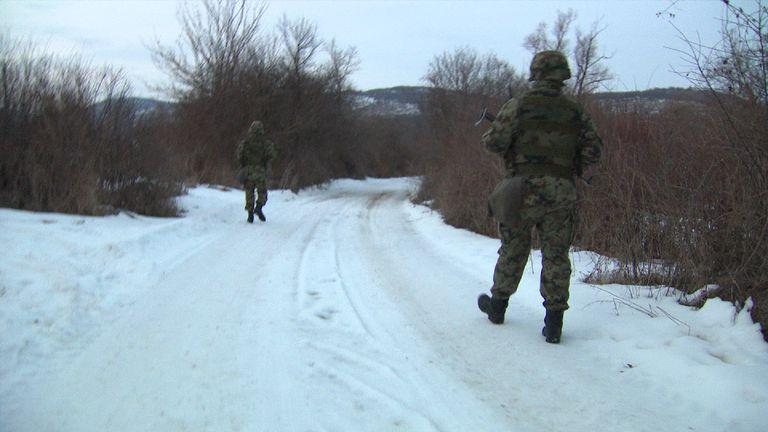 Soldiers on patrol in Serbia