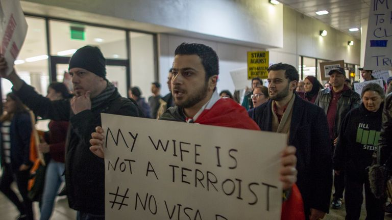 The ban has sparked protests across the world, including this one at LA airport