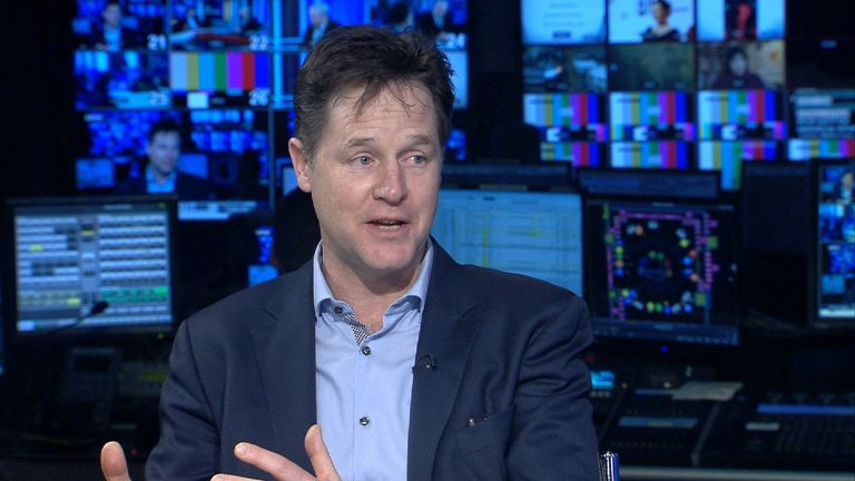Nick Clegg speaks to Sky News