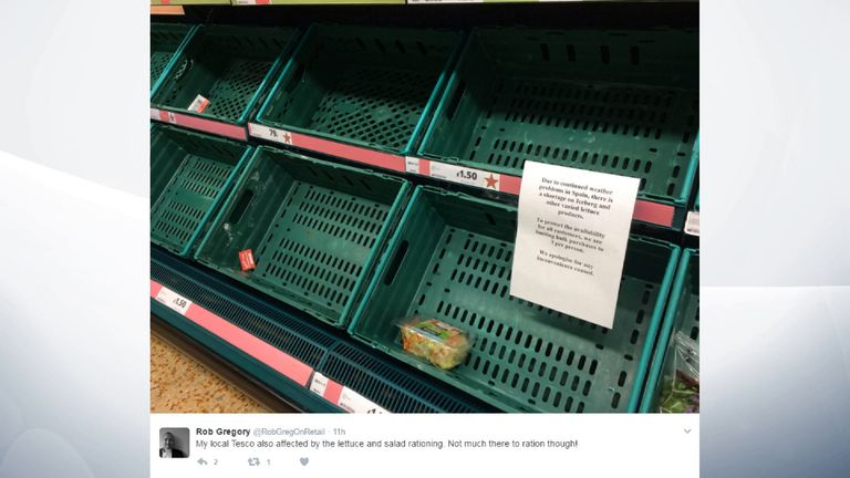 Some supermarkets are completely sold out of lettuce. Pic: @RobGregOnRetail