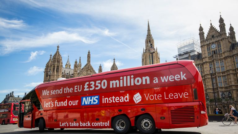 The 'Vote Leave' bus that advertised the apparent saving that could be made by leaving the EU