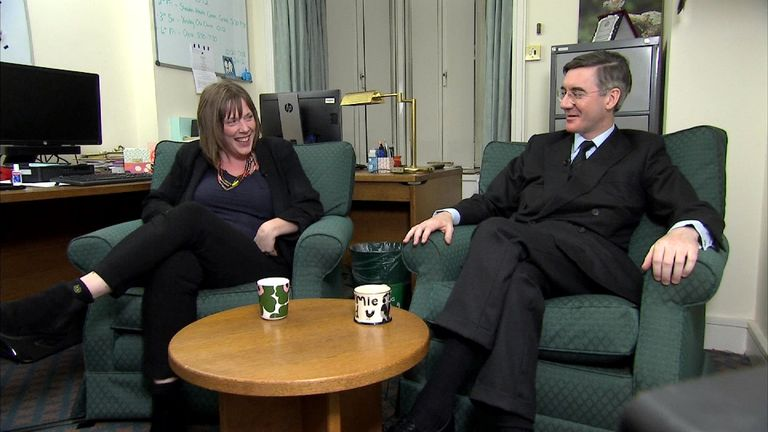Labour's Jess Philllips and Conservative Jacob Rees-Mogg