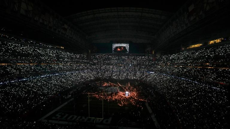 Singer Lady Gaga performs during the halftime show