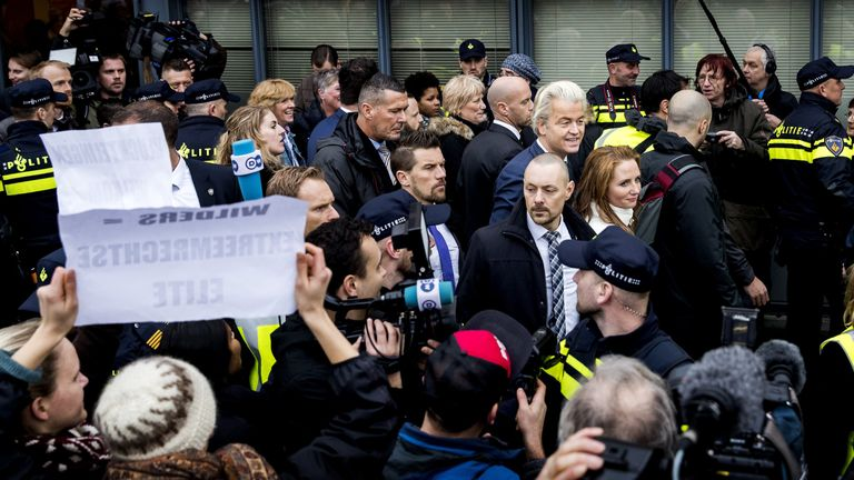 Dutch far-right politician and leader of the Partij Voor De Vrijheid (PVV or Freedom Party) Geert Wilders walks in the center of Spijkenisse, during the campaign of his party PVV, on February 18, 2017. The Dutch national elections will take place on March 15, 2017