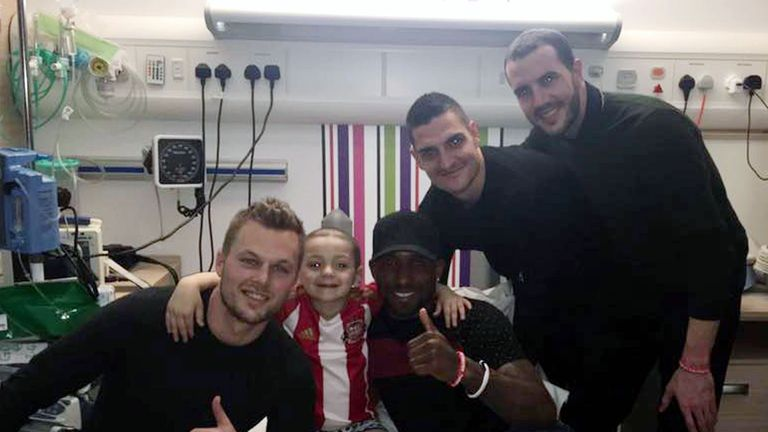 Bradley gets the big thumbs-up from his heroes