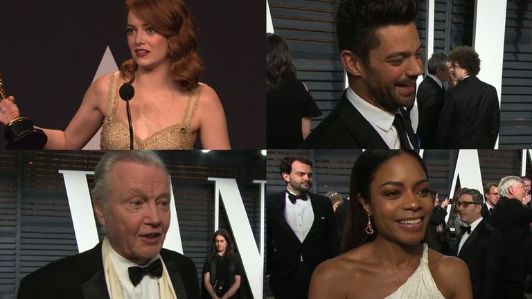 The stars react to that Oscars gaffe on the red carpet of the Vanity Fair party.