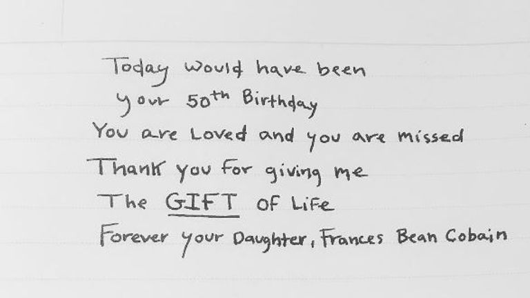 The note posted by Frances Bean Cobain to her father