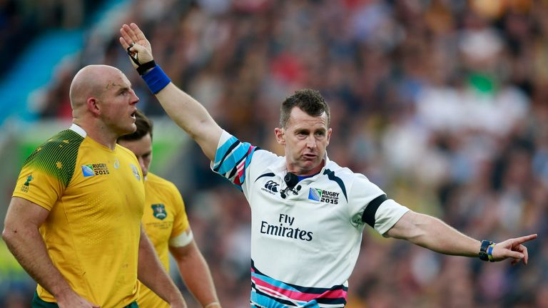 Referee Nigel Owens of Wales awards a penalty during the 2015 Rugby World Cup Final match between New Zealand and Australia at Twickenham Stadium